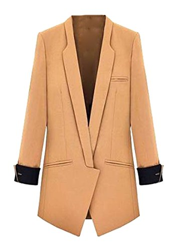 Papijam Women's Elegant Padded Crepe Draped Long Blazer Jacket Coat Khaki Small (Uniform Breasted Peaches Double Uniforms)