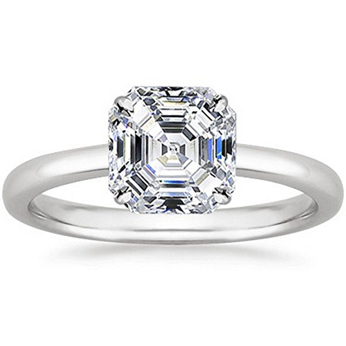 14K White Gold Asscher Cut Solitaire Diamond Engagement Ring (0.5 Carat E-F Color VS2 Clarity)