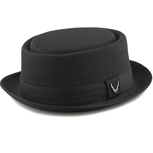 THE HAT DEPOT Black Horn Unisex Cotton Herringbone Pork Pie Hat (Large, Black) Mens Pork