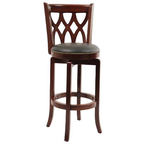 Boraam 40329 Cathedral Bar Height Swivel Stool, 29-Inch, Cherry