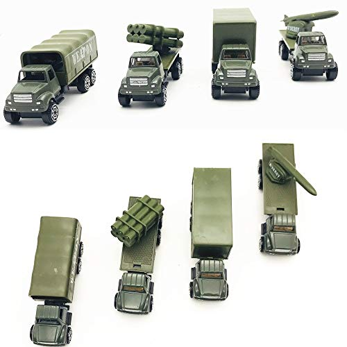 (Fycooler Die-cast Military Vehicles,4 Pack Assorted Alloy Metal Army Vehicle Models Car Toys,Original Color Mini Army Toy Weapon Truck,Panzer,Anti-Air Vehicle Playset for Kids Toddlers Boys)