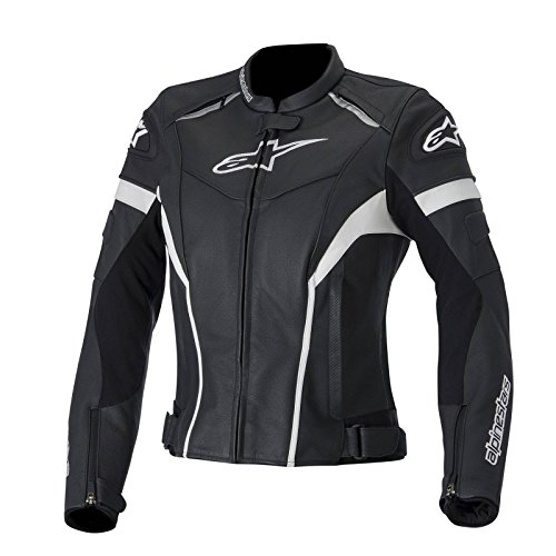 Alpinestars Stella GP Plus R Women's Perforated Leather Riding Jacket,Black/White, 46