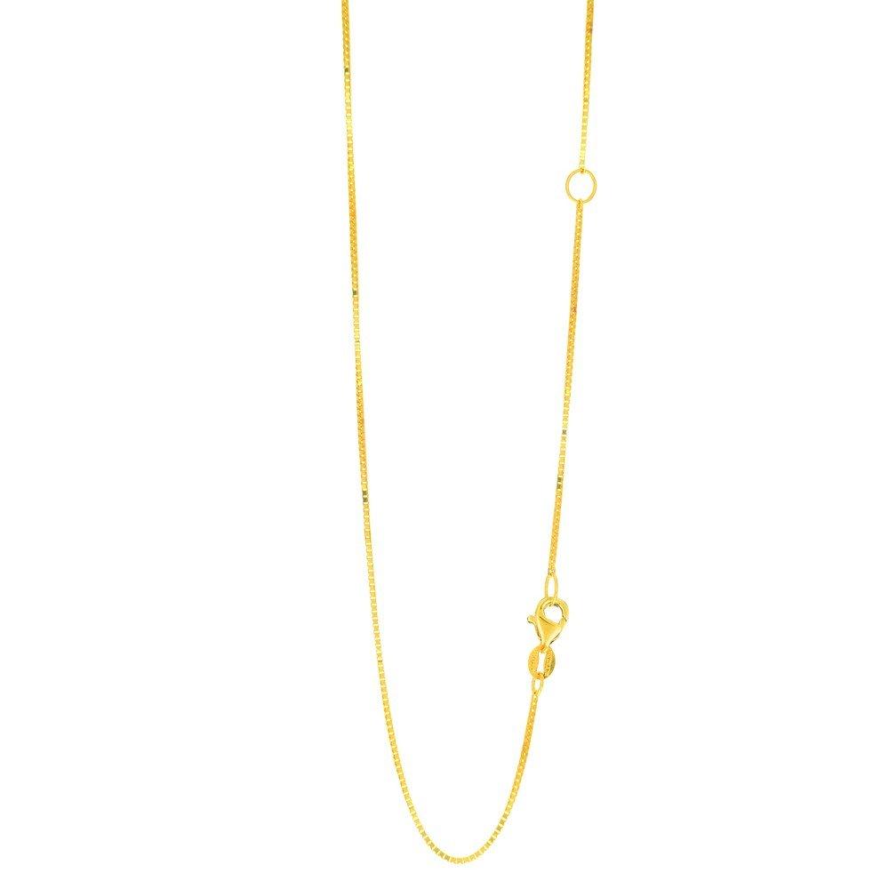 14 Karat Gelbgold 0,8 mm Klassische Box-Kette Halskette Mit Karabinerverschluss mit Extender bei 40,6 cm