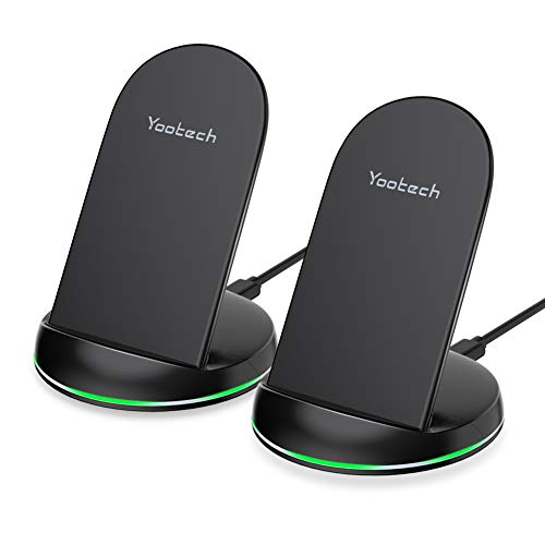 (Yootech [2 Pack] Wireless Charger Qi-Certified 7.5W Wireless Charging Stand Compatible with iPhone Xs MAX/XR/XS/X/8/8 Plus,10W for Galaxy S10/S10 Plus/S10E/S9,5W All Qi-Enabled Phones (No AC Adapter))