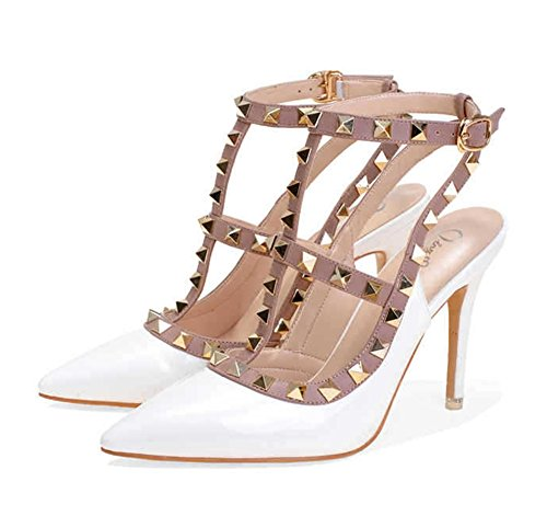 Solid Spring Women's Heels Stilettos Rivets White 34 Shoes NVXIE Pointed Color Shoes 38 Buckle Summer qIY4wnxdv