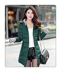 Dosqutie Women S Winter Jacket Medium Long Down Cotton Female Parkas Plus Size Winter Coat Women Slim Ladies Jackets And Coats Dark Green M