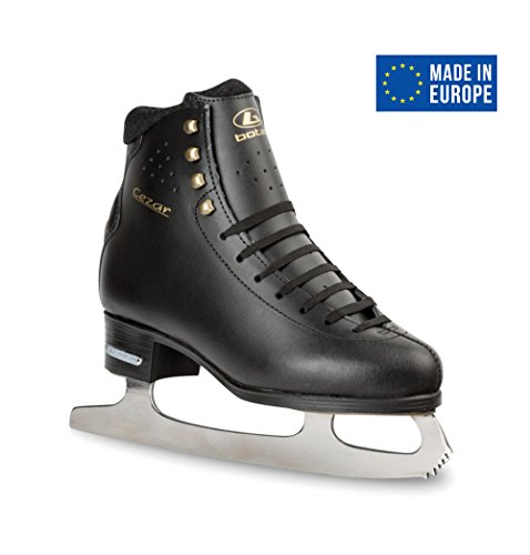 Leather Figure Skates (BOTAS - model: CEZAR / Made in Europe (Czech Republic) / Innovated Figure Ice Skates for Men, Boys / Layered Real Leather Upper / LTT technology / Stretchy Cuff / Color: Black, Size: Adult 12)