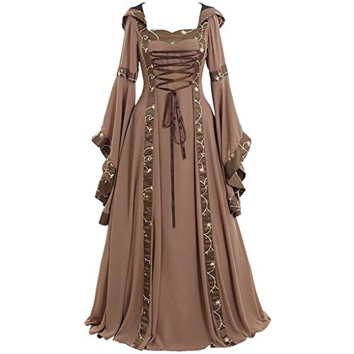 Hooded Witch Robe Halloween Costumes for Women, Renaissance Medieval Vintage Devil Gown Deluxe Lace Up Floor Length Dresses(Khaki,XXX-Large)