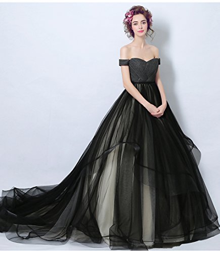 Onlybridal Black Prom Dresses Womens Off Shoulder Ball Gown High