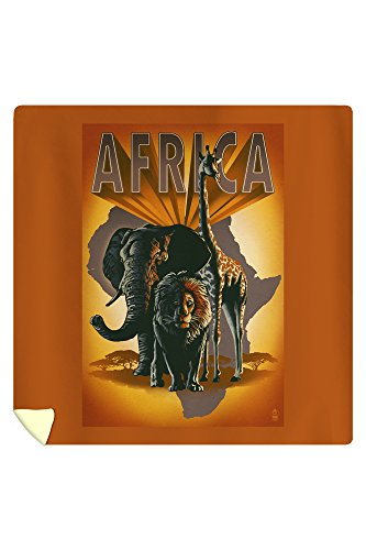 Africa - Elephant, Lion and Giraffe (88x88 Queen Microfiber Duvet Cover) by Lantern Press