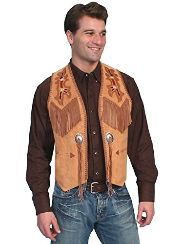 Scully Men's Beaded Boar Suede Leather Vest Tan 48 T
