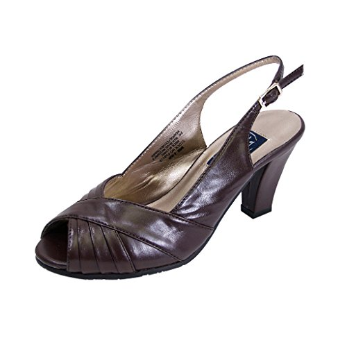 Size Toe Upper Pleated Guide Buckle Women Width Slingback Peerage with FIC Daphne Wide Brown Measurement Peep xAY817qCw