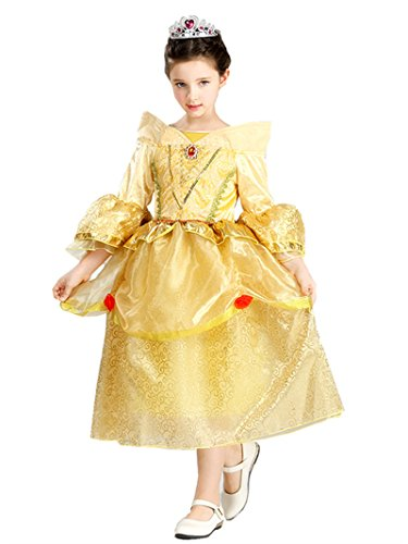 [Domiray Girls' Belle Princess Dress Costume Halloween Party Cosplay Dress (7-8)] (5 Girl Halloween Costumes)