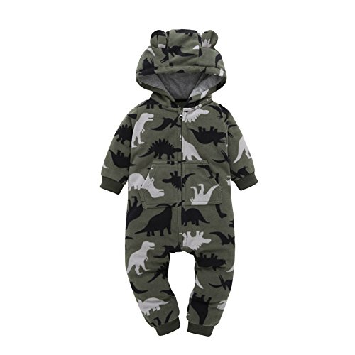 Fleece Playsuit (Soly Tech Infant Baby Girls Boy Hooded Jumpsuit Long Sleeve Printed Fleece Romper Playsuit)