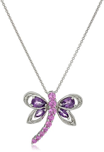 Sterling Silver Amethyst with Created Pink Sapphire Dragonfly Pendant Necklace, 18