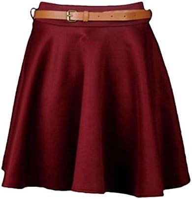 Generic Jupe Plissée Patineuse Femme Fille Taille Extensible Uni avec Ceinture Jersey Court Taille 36 à 42