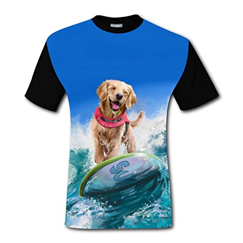 Girl Surfer Ideas Costume (Surfing Dog Happy Surfer T-shirts Tee Shirt for Men Tops Costume Round Black)
