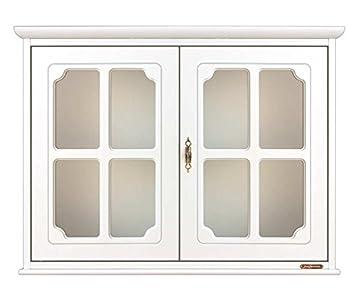 vetrina pensile bianca 2 ante, mobile bianco da muro per base tv ... - Vetrina Soggiorno Bianca 2