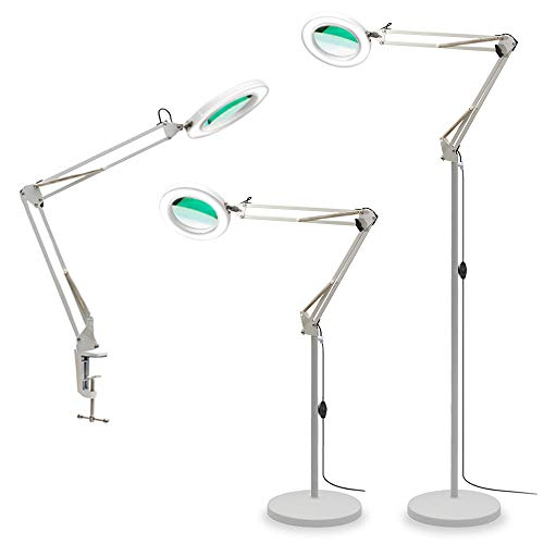 TOMSOO 3-in-1 Magnifying Glass Floor Lamp with Clamp, White/Warm White Lighted Magnifier Lens - Adjustable Swivel Arm & Stand - Full Spectrum LED Light for Reading, Crafts, Desk, Task (White)