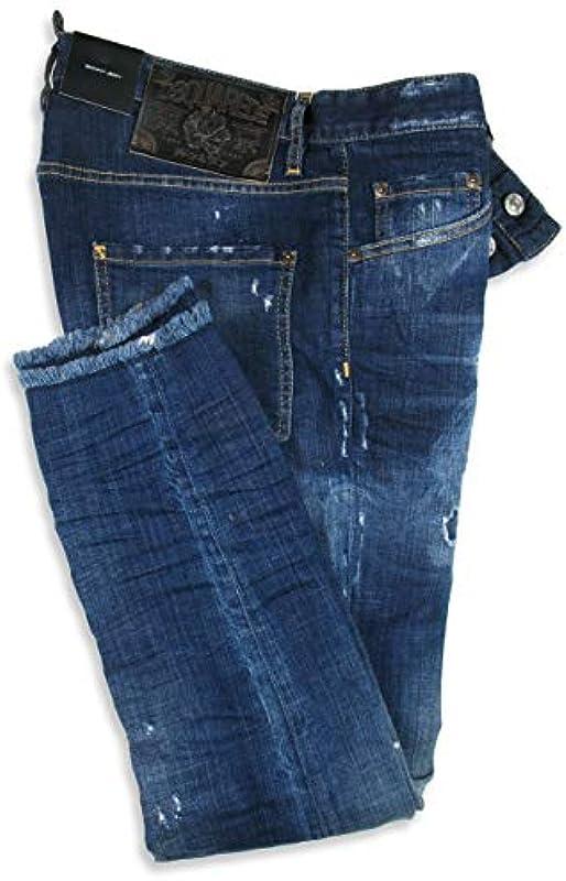 DSQUARED2 dżinsy męskie Skinny Jean Size 50 52 Navy Distressed Dsquared 2: Odzież
