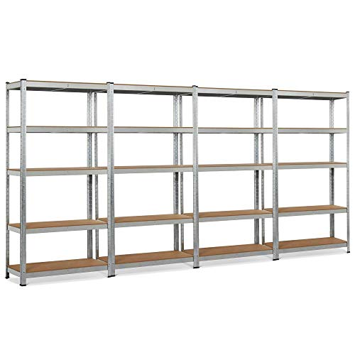 "Topeakmart 5 Tier Storage Rack Heavy Duty Adjustable Garage Shelf Steel Shelving Units,71""Height (4 Bay Garage Shelves)"