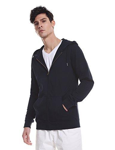 Big And Tall Zipper - ZAN.STYLE Men's Long Sleeve Zip Up Hoodie Sweatshirt Jacket With Pocket (XXX-Large, Navy)