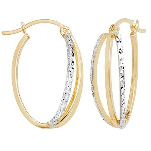 Or 9carats 2tons diamant Boucles d'oreilles