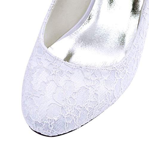 Reino Zapatos Señoras Formales Lace Hhgold White Med Correa De 6 color Boda Heel Unido 5 Doble Tamaño qTPdx4w40
