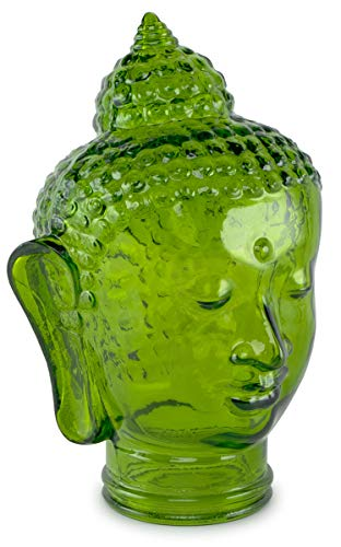 Traders and Company Spanish 100% Recycled Glass Emerald Green Buddha Head - 11.5