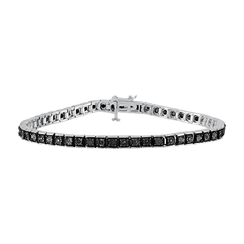 Christmas Gifts Diamond Tennis Bracelet For Women in 925 Sterling Silver Illusion Miracle Plate Black Real Diamond Line Bracelet (0.15 cttw, I-J Color, I2-I3 Clarity) by Store Indya Jewelry