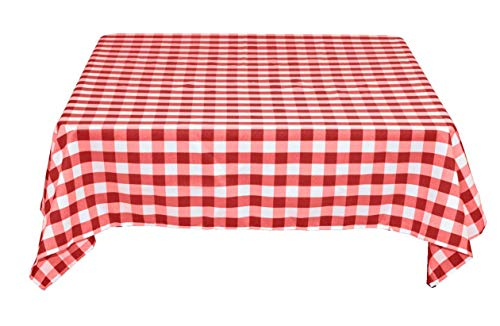 """Tektrum Premium Quality 70 X 70 Inch 70""""X70"""" Square Tablecloth Checker Checkered - Thick/Heavy Duty/Durable Fabric - Best Protection for Tables (Red and White)"""