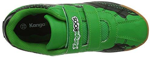 KangaROOS KangaField 3014 - Zapatillas deportivas para interior de material sintético infantil negro - Schwarz (black/green 508)