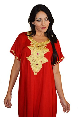 Moroccan Caftans Handmade Light Weight Cotton Hand Embroidery Andalusia Fits Small to Medium Red by Moroccan Caftans (Image #4)