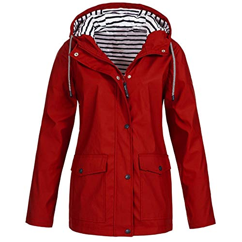 Opinionated Rain Jackets for Women Plus Size Zipper Raincoats Hoodie Solid Long Sleeve Waterproof Windproof Outdoor Coats Red