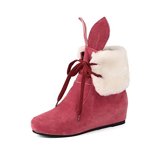 Kitten Boots Allhqfashion Round Women's Red up Frosted Toe Closed Heels Solid Lace 5qrgCxwq7v