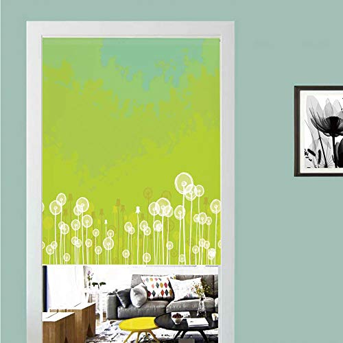 3D printed Magic Stickers Door Curtain,Apartment Decor,Dandelion Flower Pattern Wild North American Flowering Plant Summertime Art,Green Yellow ,Privacy Protect for Kitchen,Bathroom,Bedroom(1 Panel)