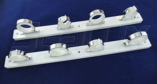 SeaLux マリンロッドリールハンガーストレージラック スナップロックロッドホルダー付き ホワイトポリボード用 4-Set Rod Hanger on 白い Poly Board
