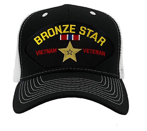- Patchtown Bronze Star - Vietnam Veteran Hat/Ballcap (Black) Adjustable One Size Fits Most (Mesh-Back Black & White, Standard (No Flag))