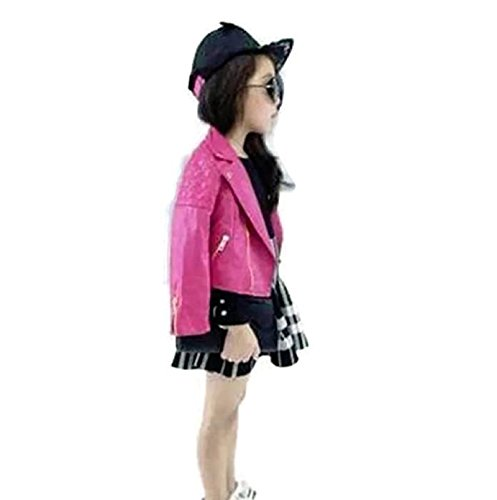 [Hot Sale! Spring Fashion Kids Jacket PU Leather Girls Jackets Clothes Children Outwear For Baby Girls Boys Clothing Zipper Coats Costume (7T,] (Car Costume Spider)