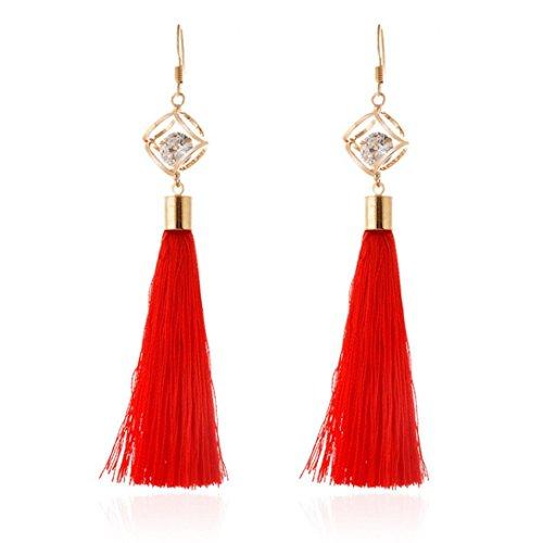 DZT1968 Women girl folk-custom Zircon Tassels Gorgeous Hoop Earrings Jewelry (Red)