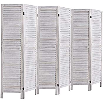 Rose Home Fashion RHF 6 Panel 5.6 Ft Tall Wood Room Divider, Wood Folding Room Divider Screens, Panel Divider&Room Dividers, Room Dividers and Folding Privacy Screens (6 Panel, Coconut)