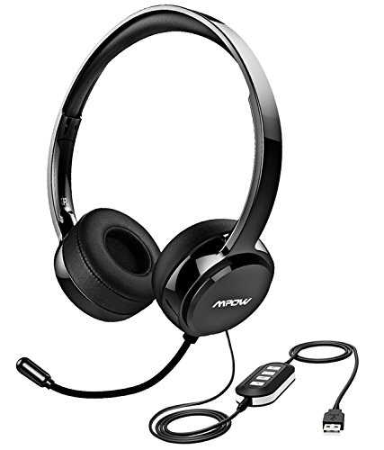Mpow 071 USB Headset/ 3.5mm Computer Headset Microphone Noise Cancelling, Lightweight PC Headset Wired Headphones, Business Headset Skype, Webinar, Phone, Call Center