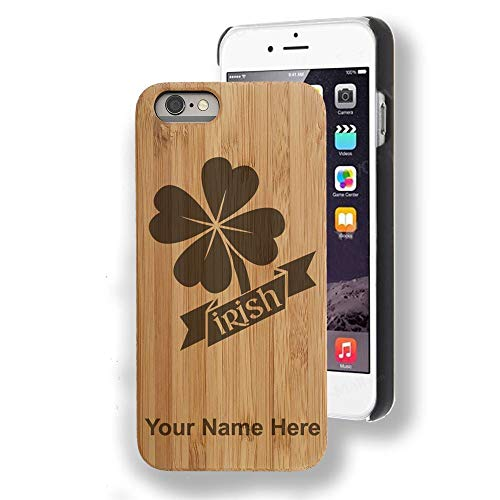 Bamboo case Compatible with iPhone 7 Plus and iPhone 8 Plus, Irish Clover, Personalized Engraving Included