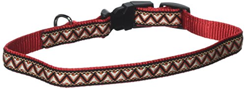 "Navajo Dog or Cat Collar by Kakadu Pet, Small, 1/2"" x 16"", Red"