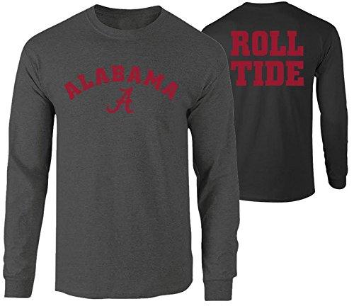Elite Fan Shop Alabama Crimson Tide Roll Tide Long Sleeve Tshirt Charcoal - -