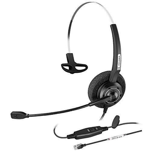 Arama Corded Telephone Headset w/Noise-Cancelling Mic & Volume Mute Control for Nortel Polycom Plantronics ShoreTel Zultys Toshiba Aspire Dterm Norstar Meridian Siemens Landline Desk Phones - Nec Noise Handset Canceling