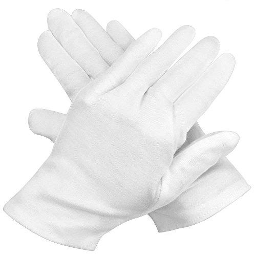 12 Pairs White Cotton Gloves, Marrywindix 9.4'' Soft Lightweight Work Gloves Cotton Gloves for Wedding Workshop Farm Garden, One Size (Blacklight Gloves)