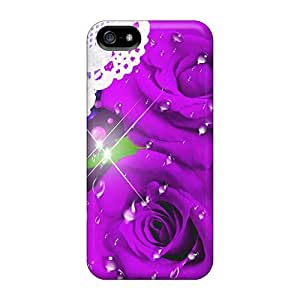 Special Design Back Majenta Roses Lace Phone Cases Covers For Iphone 5/5s
