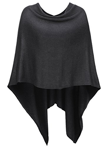 DJT Womens Solid Knit Short Asymmetric Wrap Poncho Topper Dark Grey