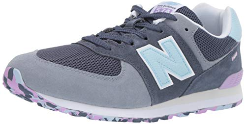 (New Balance Boys' Iconic 574 Sneaker Vintage Indigo/Dark Violet glo 8.5 M US Toddler)